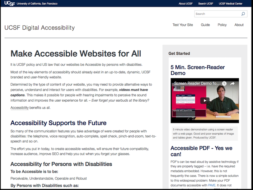 Screen capture of digitalAccess.ucsf.edu home webpage